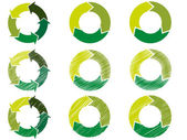 Arrow circles in sustainable green color — Stock Vector
