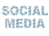 Social media word in icon pattern set — Stock Vector