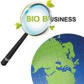 世界を見て虫眼鏡バイオ ビジネス — ストックベクタ