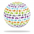 Social technology globe filled with mediicons — Vector de stock #24926627