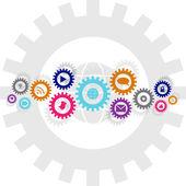 Cadena de la rueda de engranaje tecnología y medios de comunicación social — Vector de stock