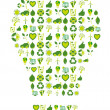 Light bulb filled with bio eco environmental icons and symbols — Image vectorielle