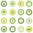 Set of round icons filled with bio eco environmental symbols — Stock Vector