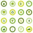 ensemble d'icônes ronds remplis de symboles environnementaux d'eco bio — Vecteur