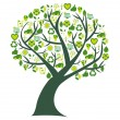 Conceptual tree with bio eco and environmental symbols and icons — Vector de stock