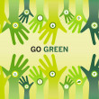 Hands cheering Go Green for eco friendly and sustainable world o — Stock Vector