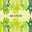 Hands cheering Go Green for eco friendly and sustainable world o — Image vectorielle
