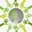 Set of hands with bio icons waiving to green environmental world — Image vectorielle