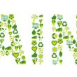 Word Sustainable filled with eco friendly and bio related icons — Image vectorielle