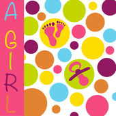 Baby newborn birth announcement card girl with baby feet, dummy — Stock Vector