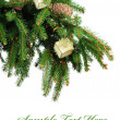 Pine branches and Christmas ornaments - Stock Photo