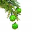 Pine branches and Сhristmas ornaments — Stock Photo