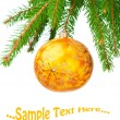 Pine branches and Сhristmas ornaments - Stockfoto