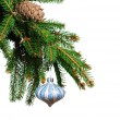 Pine branches and Christmas ornaments - Zdjęcie stockowe