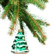 Pine branches and Christmas ornaments - Stockfoto