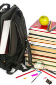 Welcome to school.Backpack and book heap isolated on white background. Concept — Stock Photo