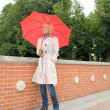 Fashion portrait of young attractive lady with umbrella — Stockfoto