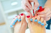 Pedicure in process.Shallow depth of field — Stock Photo