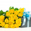 Yellow roses with gift box isolated on white background — Stock Photo #24209793