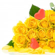 Yellow roses with heart isolated on white background — Stock Photo