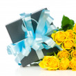 Yellow roses with gift box isolated on white background — Stock Photo #24210263