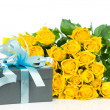 Yellow roses with gift box isolated on white background — Stock Photo #24210709