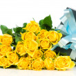 Yellow roses with gift box isolated on white background — Stock Photo #24210753
