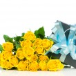 Yellow roses with gift box isolated on white background — Stock Photo #24211413