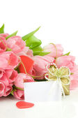 Tulips with red heart and gift box isolated on white background — Stock Photo
