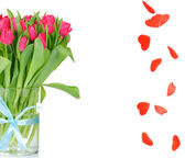 Bouquet of tulips in the vase and heart rain isolated on white background — Stock Photo