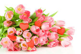 Pink tulips with red heart isolated on white background — Stock Photo