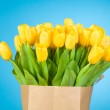 Tulips in paper bag against blue background — Stock Photo #25008175
