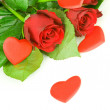 Roses with red heart isolated on white background — Stockfoto