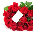 Bunch of red roses an greeting card isolated on white background — Stock Photo