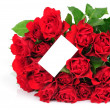 Bunch of red roses an greeting card isolated on white background — Stock Photo #25009641