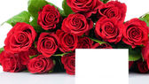 Roses bouquet and greeting card isolated on white background — Stock Photo