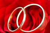 Deux bagues de mariage or en fleur rose — Photo