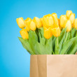 Tulips in paper bag against blue background — Stockfoto