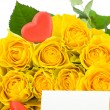 Yellow roses with red hearts and greeting card — Stock Photo