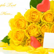 Stock Photo: Yellow roses with red hearts and greeting card