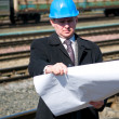 Engineer with drawing — Stock Photo