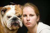 Woman and bulldog — Stock Photo