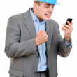 Angry businessman talking on phone — Stock Photo #25550267