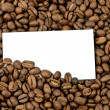 Stock Photo: Coffee beans with blank bussines card