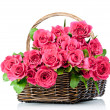 Pink roses in the basket — Foto de Stock