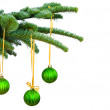 Pine branches and Christmas ornaments — 图库照片