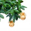 Pine branches and Christmas ornaments — Stock Photo