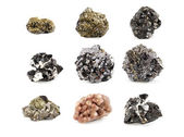 Ore minerals set isolated on white — Stock Photo