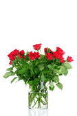 Bouquet of rose in the vase isolated on white background — Stok fotoğraf