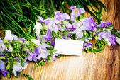 Freesia flowers with greeting card — Stock Photo